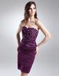 Sheath/Column Sweetheart Knee-Length Chiffon Cocktail Dress With Ruffle Beading (016015716)