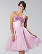 Empire Sweetheart Short/Mini Organza Sequined Homecoming Dress With Ruffle Bow(s) (022020625)
