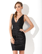 Sheath/Column V-neck Short/Mini Satin Little Black Dress With Ruffle (043004241)
