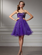 A-Line/Princess Sweetheart Knee-Length Tulle Homecoming Dress With Ruffle Beading (022009671)