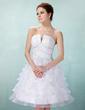 A-Line/Princess V-neck Knee-Length Organza Homecoming Dress With Beading Cascading Ruffles (022021057)
