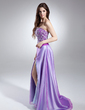 A-Line/Princess Sweetheart Sweep Train Satin Organza Prom Dress With Beading Sequins Split Front (018015646)
