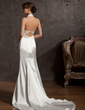 Trumpet/Mermaid Halter Court Train Charmeuse Wedding Dress With Ruffle Lace Beading (002014877)
