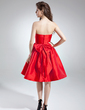 A-Line/Princess Sweetheart Knee-Length Taffeta Cocktail Dress With Ruffle Bow(s) (016016002)