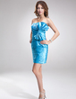 Sheath/Column Strapless Short/Mini Charmeuse Cocktail Dress With Ruffle Lace Beading Sequins Bow(s) (016008390)