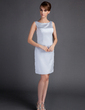 Sheath/Column Scoop Neck Knee-Length Satin Mother of the Bride Dress (008005957)