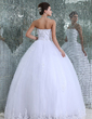 Ball-Gown Strapless Floor-Length Tulle Wedding Dress With Lace Beading (002017407)