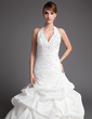 Ball-Gown Halter Chapel Train Taffeta Wedding Dress With Ruffle Lace Beading (002001447)