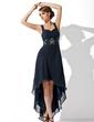 Çan/Prenses Kalp Kesimli Asimetrik Chiffon Mezunlar Gecesi Elbisesi Ile Büzgü Boncuklama (022009287)