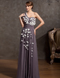 A-Line/Princess One-Shoulder Floor-Length Chiffon Mother of the Bride Dress With Ruffle Flower(s) (008014902)
