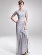 Çan/Prenses Yuvarlak Yaka Asimetrik Chiffon Lace Gelin Annesi Elbisesi (008005621)