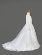 Çan/Prenses Kuyruklu Çiçek Kız Elbise - Organza Uzun kollu V yaka Ile Nakışlı (010005886)