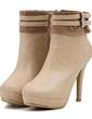 Suni deri İnce Topuk Pompalar Bot Ayak bileği Boots Ile Toka ayakkabı (088057539)