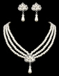 Elegant Alloy/Pearl With Rhinestone Ladies' Jewelry Sets (011005555)