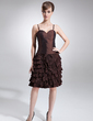 Sheath/Column Sweetheart Knee-Length Taffeta Mother of the Bride Dress With Bow(s) Cascading Ruffles (008006088)
