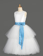 A-Line/Princess Tea-length Flower Girl Dress - Taffeta/Tulle Sleeveless Scoop Neck With Sash/Beading/Bow(s) (010014650)