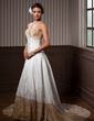 A-Line/Princess Sweetheart Chapel Train Taffeta Wedding Dress With Ruffle Beading (002012047)