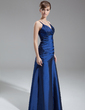 A-Line/Princess V-neck Floor-Length Taffeta Bridesmaid Dress With Ruffle (007001739)