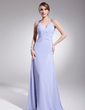 A-Line/Princess V-neck Floor-Length Chiffon Evening Dress With Ruffle Beading (017014573)