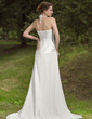 A-Line/Princess Halter Court Train Chiffon Wedding Dress With Ruffle Lace (002011786)