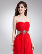 Sheath/Column Sweetheart Sweep Train Chiffon Prom Dress With Ruffle Beading Split Front (018015867)