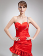 Sheath/Column One-Shoulder Asymmetrical Charmeuse Cocktail Dress With Ruffle Beading (016021145)