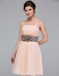 Chiffon Strapless Knee-length A-Line Bridesmaid Dress (007037256)