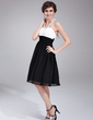 Empire Halter Knee-Length Chiffon Homecoming Dress With Ruffle Beading Bow(s) (022010547)