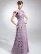 A-Line/Princess Scoop Neck Floor-Length Chiffon Mother of the Bride Dress With Cascading Ruffles (008006034)