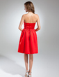 A-Line/Princess Strapless Knee-Length Satin Homecoming Dress With Ruffle (022015521)