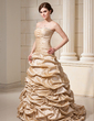 Ball-Gown Sweetheart Court Train Taffeta Wedding Dress With Ruffle Beading Flower(s) Sequins (002012215)