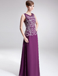 A-Line/Princess Scoop Neck Floor-Length Chiffon Mother of the Bride Dress With Embroidered Beading Sequins (008006401)