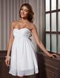 Yüksek Bel Kalp Kesimli Kısa/Mini Chiffon Taffeta Mezunlar Gecesi Elbisesi Ile Büzgü (022011437)