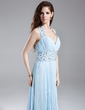 A-Line/Princess Halter Floor-Length Chiffon Prom Dress With Beading Pleated (018015852)