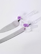 Personalized Flower Design Stainless Steel Serving Sets With Ribbons (051029076)