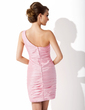 Sheath/Column One-Shoulder Knee-Length Taffeta Cocktail Dress With Ruffle Flower(s) (016008637)