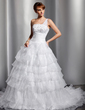 Ball-Gown One-Shoulder Court Train Satin Organza Wedding Dress With Appliques Lace Sequins Cascading Ruffles (002014750)