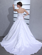 Ball-Gown Sweetheart Cathedral Train Satin Wedding Dress With Ruffle Beading (002001173)