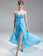 A-Line/Princess Sweetheart Sweep Train Chiffon Prom Dress With Ruffle Beading Split Front (018016270)