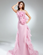 A-Line/Princess Strapless Court Train Organza Prom Dress With Beading Cascading Ruffles (018015542)