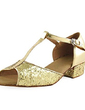 Women's Kids' Leatherette Sparkling Glitter Heels Sandals Flats Latin With T-Strap Dance Shoes (053013437)