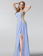 A-Line/Princess Strapless Floor-Length Chiffon Bridesmaid Dress With Ruffle Beading Appliques Lace Sequins Split Front (007005187)