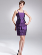 Sheath/Column Short/Mini Taffeta Mother of the Bride Dress With Beading Cascading Ruffles (008006087)