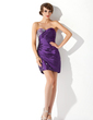 Sheath/Column Sweetheart Short/Mini Taffeta Cocktail Dress With Ruffle Beading (016021201)