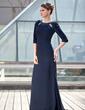 Trumpet/Mermaid Scoop Neck Sweep Train Chiffon Mother of the Bride Dress With Ruffle Beading (008018978)