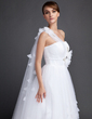 A-Line/Princess One-Shoulder Watteau Train Tulle Wedding Dress With Ruffle Flower(s) (002015841)