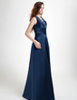 A-Line/Princess V-neck Floor-Length Satin Bridesmaid Dress With Ruffle Beading (007001728)
