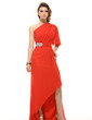 A-Line/Princess One-Shoulder Asymmetrical Chiffon Holiday Dress With Ruffle Beading (020016062)