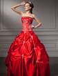 Ball-Gown Strapless Floor-Length Satin Quinceanera Dress With Embroidered Beading Sequins (021004663)