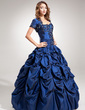 Ball-Gown Sweetheart Floor-Length Taffeta Quinceanera Dress With Ruffle Beading Appliques Lace Sequins (021004560)